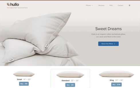 Hullo Pillow Web Design